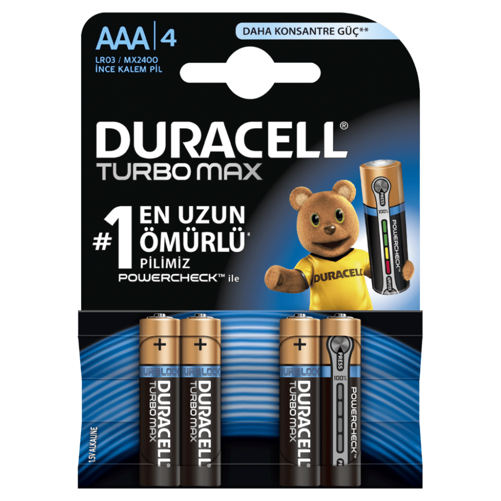 DURACELL TURBO MAX AAA İNCE PİL 4 LÜ KART